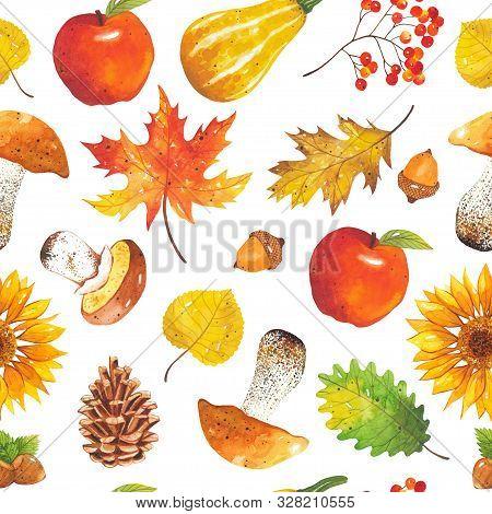 Seamless Autumn Bright, Colorful Pattern Of Leaves, Sunflowers, Mushrooms, Acorns, Cones, Pumpkins,