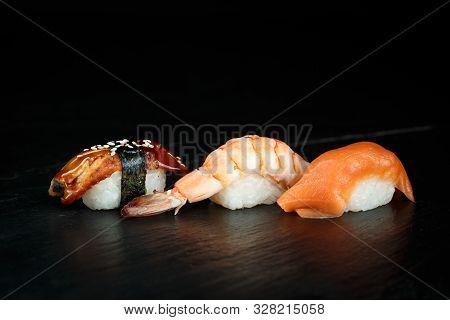 Assorted Japanese Sushi Shake, Unagi, Ebi Close-up