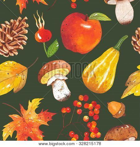 Seamless Autumn Bright, Colorful Pattern Of Leaves, Mushrooms, Acorns, Cones, Pumpkins, Apple On Dar