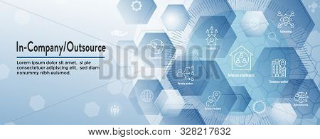In-company And Outsource Icon Set - Web Header Banner