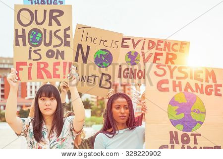 People Protesting Against Climate Change Opinion. Young People From Different Countries Showing Thei