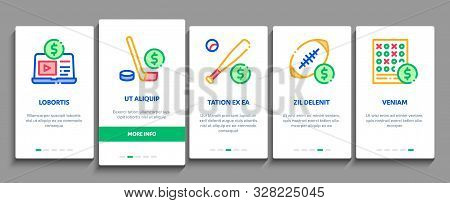 Betting And Gambling Onboarding Mobile App Page Screen Vector Thin Line. Basketball And Baseball, Ho
