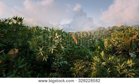 Vibrant  Fantasy Rainforest In Morning Light With Distant Mountains Misty And Clouds In Background.
