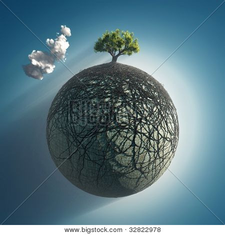 tree roots covering the planet