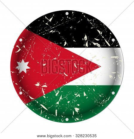 Jordan - Round Metallic Scratched Flag With Six Screw Holes In Front Of A White Background