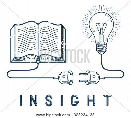 Open Book With Idea Light Bulb And Cable Plug Vector Linear Icon, Education And Scientific Literatur