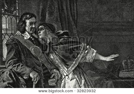 Oliver Cromwell and his daughter Elizabeth. Engraving by Bong  from picture by  Schrader. Published in magazine