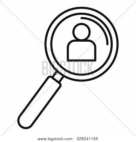 Admin Magnify Glass Icon. Outline Admin Magnify Glass Vector Icon For Web Design Isolated On White B
