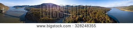 360 degree aerial panorama of the Hudson River Valley of New York near Poughkeepsie.
