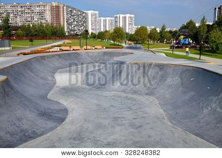 Moscow, Russia - Sept 6. 2019. Public Skate Park On The Street