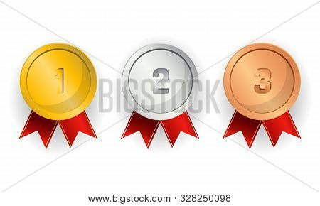Realistic Award Medals. Set Of Gold, Silver And Bronze Award Medals On White - Stock Vector