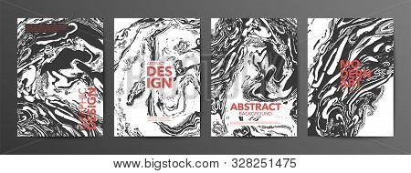 Monochrome Suminagashi Paper Vector Banners Set. Modern Art Posters Collection. Black And White Ebru