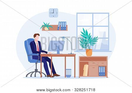 Working Morning Of A Businessman. Vector Flat Cartoon Illustration Of Office Workplace. Business Man