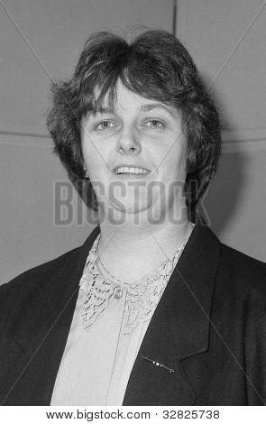 LONDON - DECEMBER 12: Teresa O'Neill, Conservative party Parliamentary Candidate for Lewisham, Deptford, attends a photo call at Conservative Central Office on December 12, 1990 in London.