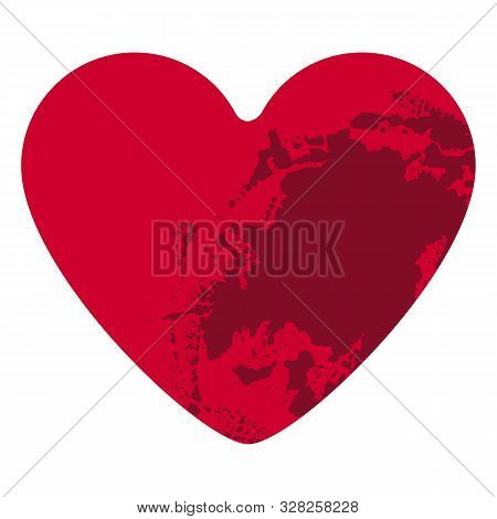 Grunge Heart On White Background. Blood Splatter. Red Distressed Textured Hand Made Heart Made Of Pa