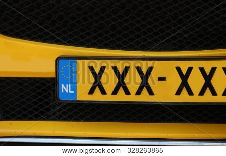 Plate Of Dutch Car With Text Xxx The Symbol Of Amsterdam City In Europe