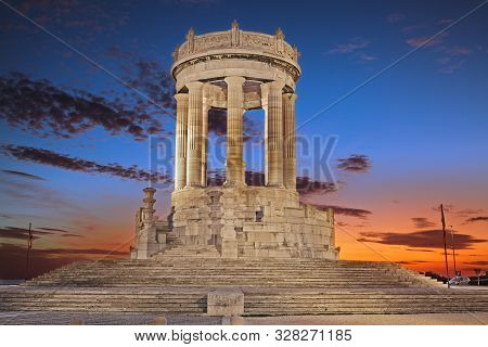 Ancona, Marche, Italy: view at dawn of the war Memorial, circular temple of 1930 in Istrian stone poster