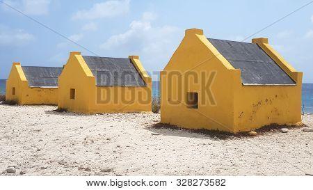 Yellow Slave Houses On Bonaire