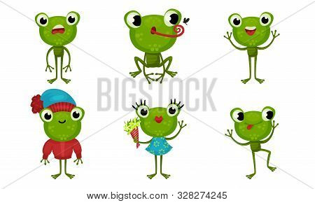 Six Funny Little Frog Characters In Cartoon Style Vector Illustrated Set