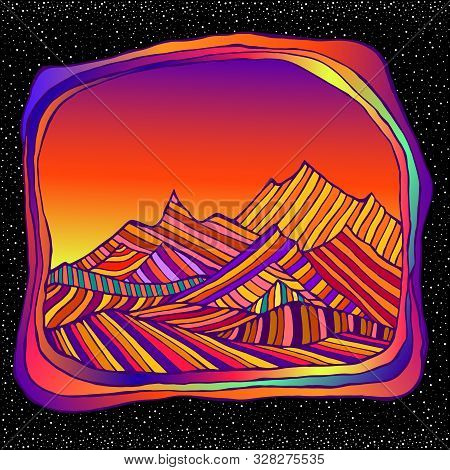 Psychedelic Surreal Landscepe With Colorful Mountains, Isolted In Space And Stars Bacground. Retro H