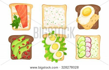 Write And Brown Bread Toasts With Different Toppings Vector Illustrated Set