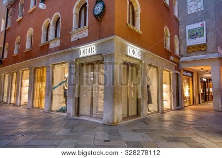 Venice, Italy - October 15, 2019: Facade Of Dior Store On Valleresso Street, Venice, Italy. Dior Is
