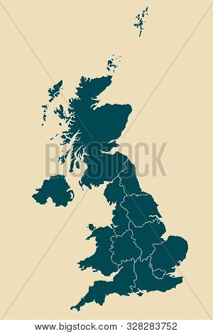 United Kingdom Map With Boundaries Vector Illustration.dutch White Mid Night Green Color.