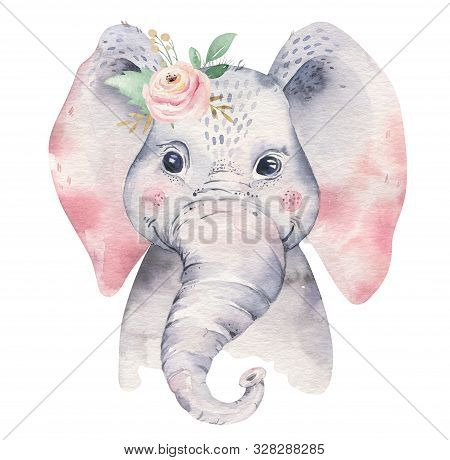 A Poster With A Baby Elephant. Watercolor Cartoon Elephant Tropical Animal Illustration. Jungle Exot