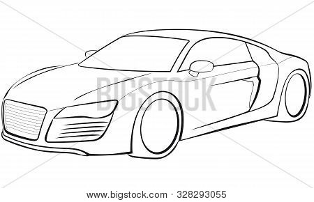 A Sportscar In Form Of A Line Drawing