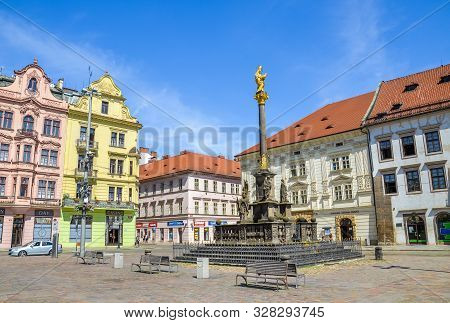 Pilsen, Czech Republic - June 25, 2019: The Main Square In Plzen, Czechia With St. Marys Plague Colu