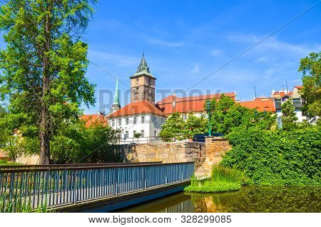 Beautiful Cityscape Of Pilsen, Czech Republic With Dominant Water Tower, Vodarenska Vez In Czech, Ph