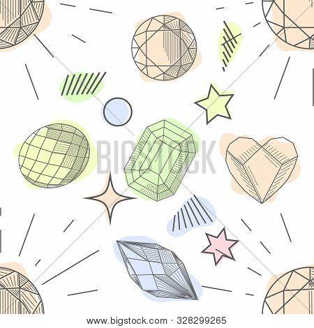 Seamless Pattern Of Hand Drawn Semiprecious Stones: Jade, Rock Crystal, Citrine, Amethyst, Aquamarin