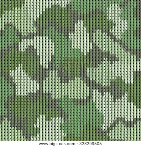 Colorful military decorative forest camouflage. Knitting khaki pattern. Vector illustration. poster
