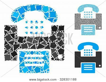 Fax Mosaic Of Ragged Pieces In Different Sizes And Color Tints, Based On Fax Icon. Vector Joggly Ite