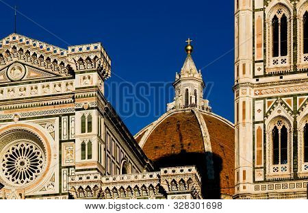 Giottos Bell Tower Detail And Duomoof Santa Maria Del Fiore, Florence, Italy