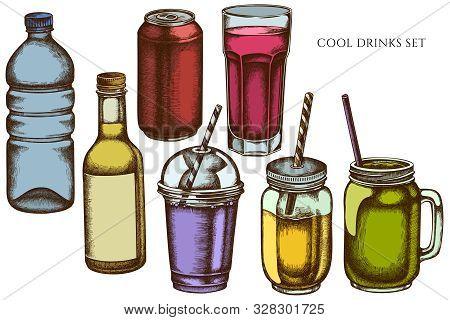 Vector Set Of Hand Drawn Colored Glass, Plastic Bottle, Bottle Of Lemonade, Smoothie Cup, Aluminum C