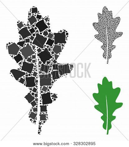 Oak Leaf Mosaic Of Unequal Parts In Various Sizes And Color Tints, Based On Oak Leaf Icon. Vector Un