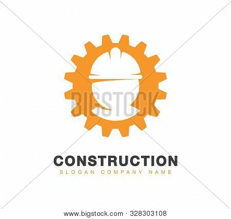 Engineering Or Construction Vector Logo. Silhouette Of Professional Worker In A Hard Hat In Orange P