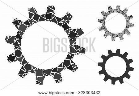 Cogwheel Composition Of Abrupt Pieces In Various Sizes And Shades, Based On Cogwheel Icon. Vector Tr
