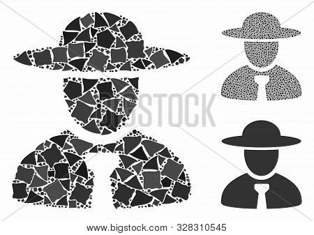 Boss Mosaic Of Trembly Items In Different Sizes And Color Tints, Based On Boss Icon. Vector Unequal