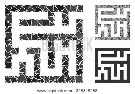 Labyrinth Mosaic Of Rugged Parts In Various Sizes And Color Tinges, Based On Labyrinth Icon. Vector
