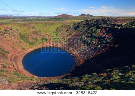 Kerid Volcanic Crater in Iceland, Europe