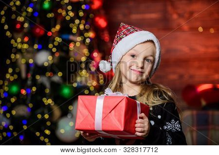 Kid Adorable Wear Santa Hat Celebrate Christmas. Buy Christmas Gift. Winter Shopping. Girl Cute Chil