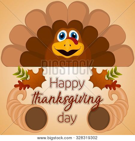 Happy Thanksgiving Day Card With A Turkey, Cornucopia And Leaves - Vector