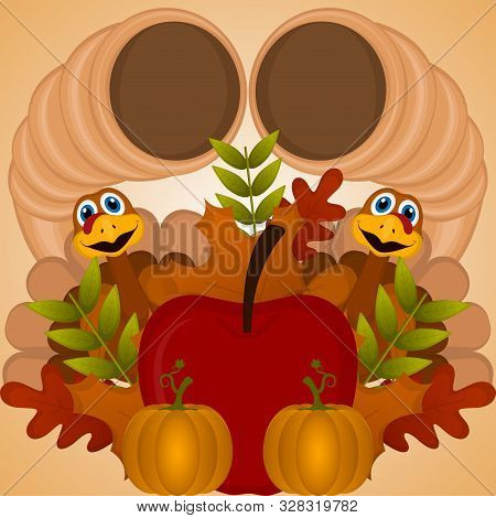 Happy Thanksgiving Day Card With A Turkeys, Cornucopias, Apple, Pumpkins And Leaves - Vector