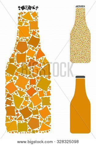 Beer Bottle Composition Of Bumpy Parts In Variable Sizes And Shades, Based On Beer Bottle Icon. Vect