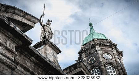 Dublin, Ireland - February 16, 2019: Architectural Detail Of Dublin Castle Which Was The Seat Of Bri