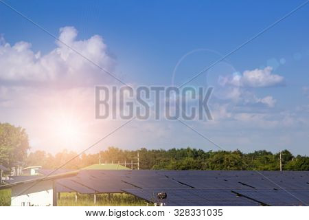Photovoltaic Solar Power Panel On Sky Background, Green Clean. Alternative Future Power Energy Conce