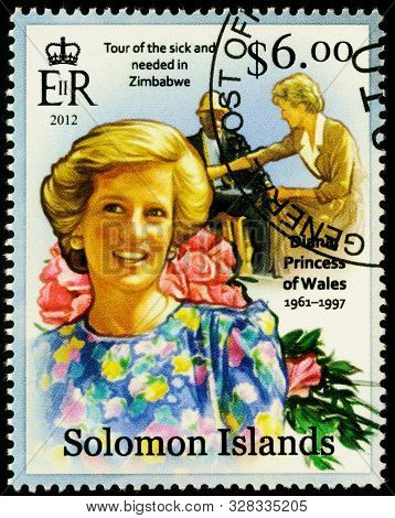 Moscow, Russia - October 17, 2019: A Stamp Printed In Solomon Islands Shows Princess Diana, Series