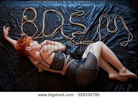 Sexy Woman In Erotic Lingerie And Shibari. Love And Sex Games For Couples. Hot Night . Bdsm. Shibari